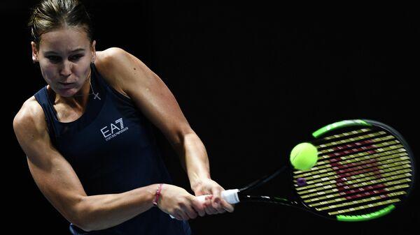 Вероника Кудерметова (Россия) в матче женского одиночного разряда на турнире St.Petersburg Ladies Trophy 2020 против Юлии Путинцевой (Казахстан).