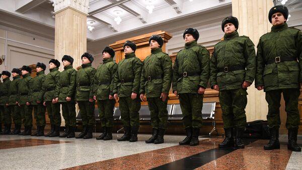 Призывники на железнодорожном вокзале Новосибирск-главный