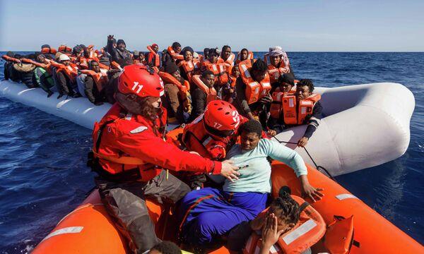 Спасение мигрантов в Средиземном море у берегов Ливии