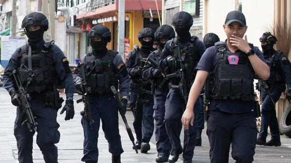 Полиция на месте стрельбы в Бангкоке