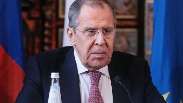 Министр иностранных дел РФ Сергей Лавров на пресс-конференции по итогам российско-итальянских переговоров