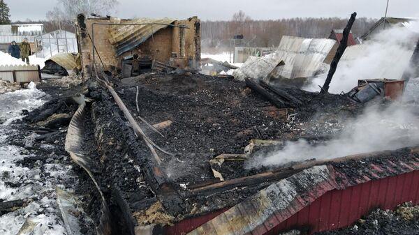 Последствия пожара в Наровчатском районе в Пензенской области