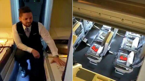 Демонстрация скрытого люка в самолете Boeing 777 авиакомпании Virgin Australia