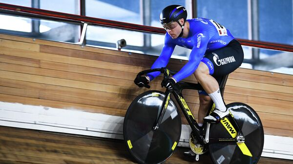 Russia's Shane Perkins prepares to compete during the qualifying round of the men's sprint at the Track Cycling Grand Prix of Moscow in Moscow, Russia.