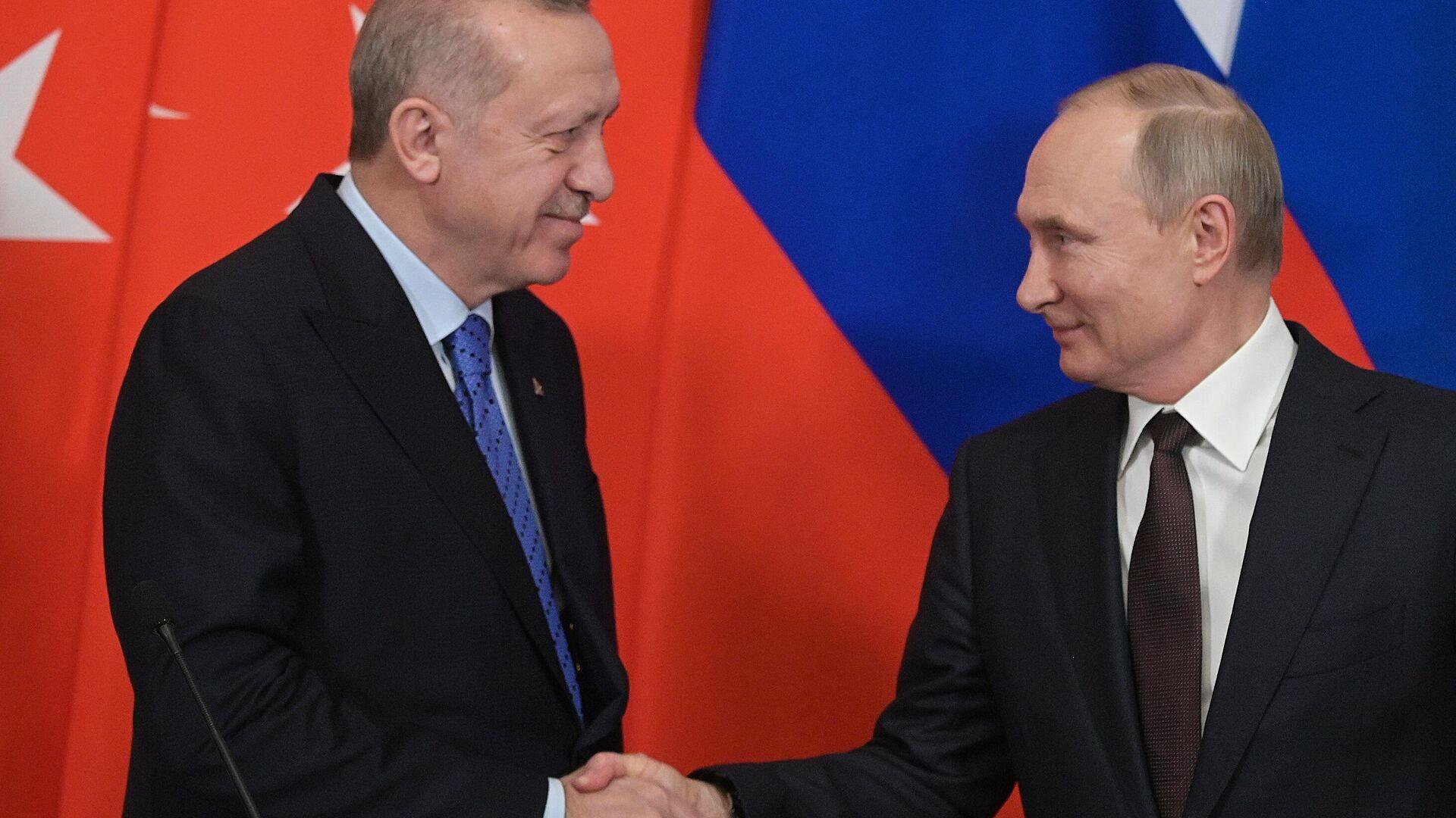 Президент РФ Владимир Путин и президент Турции Реджеп Тайип Эрдоган во время пресс-подхода - РИА Новости, 1920, 09.04.2021