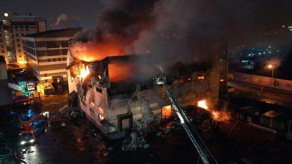 Пожар в здании школы бокса в Химках, Подмосковье