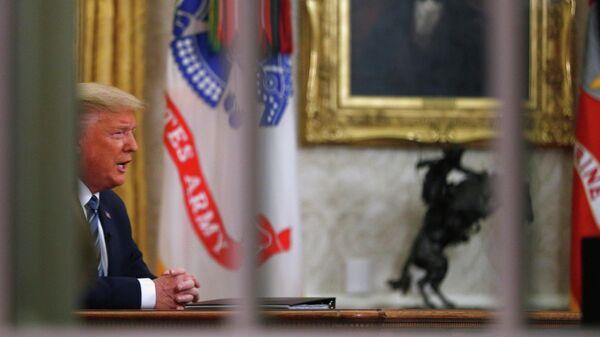 Президент США Дональд Трамп во время прямой телевизионной трансляции о пандемии коронавируса COVID-19, Вашингтон