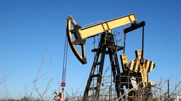 Нефтяной станок-качалка на Абино-Украинском нефтегазовом месторождении в Краснодарском крае