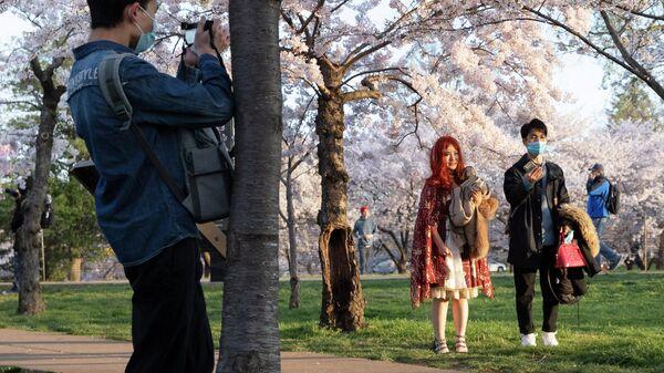Посетители в парке в Вашингтоне