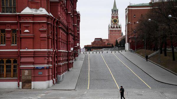 Вид на Спасскую башню с Кремлевского проезда