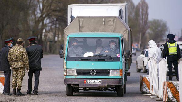 Блокпост на въезде в Бишкек