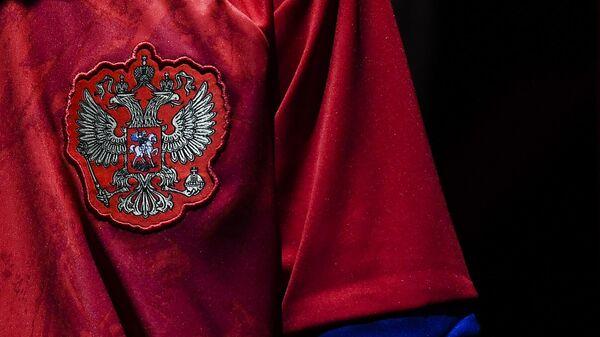 Герб РФ на игровой форме сборной России по футболу