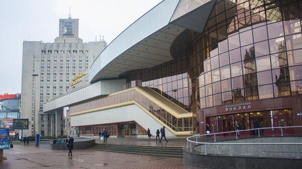 Современное здание городской железнодорожной станции в Минск, Беларусь
