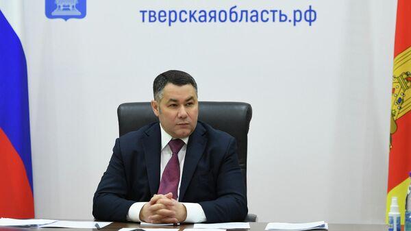 Губернатор Тверской области Игорь Руденя во время селекторного совещания