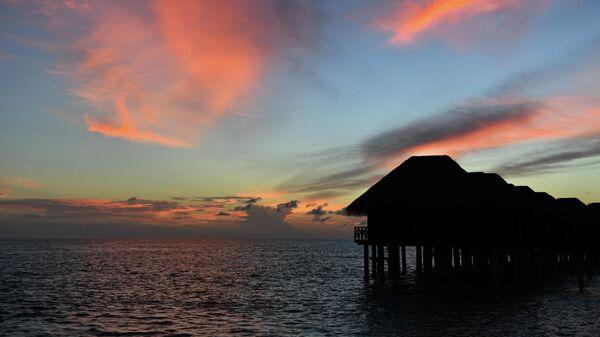 Виллы для туристов на одном из Мальдивских островов