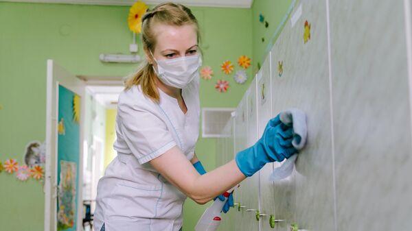 Дезинфекция всех поверхностей в детском саду №15 в Иванове