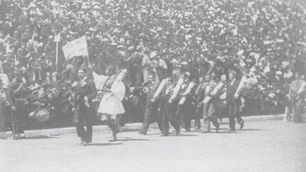 Церемония закрытия Олимпийских Игр 1896 года на стадионе Панатинаикос