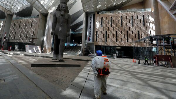 Сотрудник проводит дезинфекцию перед статуей короля Рамзеса II в Большом египетском музее, открытие которого было отложено из-за коронавируса