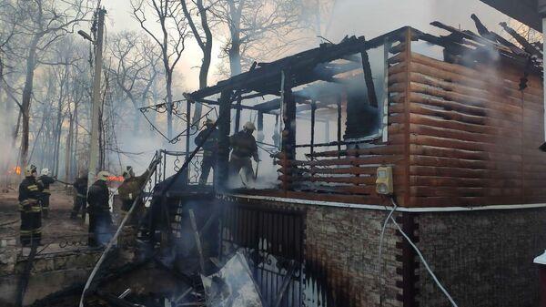 Пожар в рыбацком поселке в Воронежской области