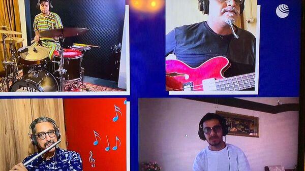 Скриншот выступления группы The Rajeev Raja Combine на благотворительном онлайн-марафоне Doctor Jazz Party