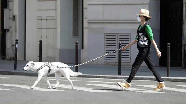 Женщина выгуливает собаку в Париже, Франция