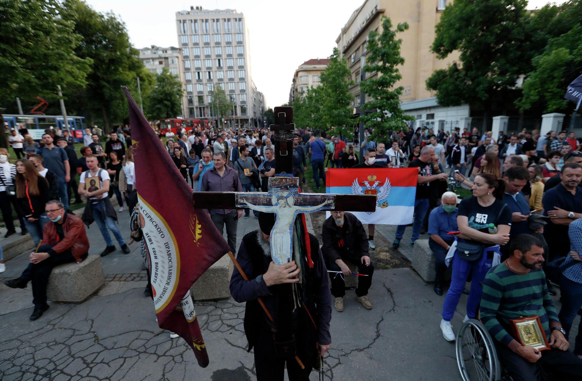Участники акции протеста после ареста священников Сербской православной церкви в Черногории - ПРОФИ Новости, 1920, 14.09.2021