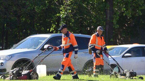Сотрудники коммунальных служб стригут газон на Ленинском проспекте в Москве