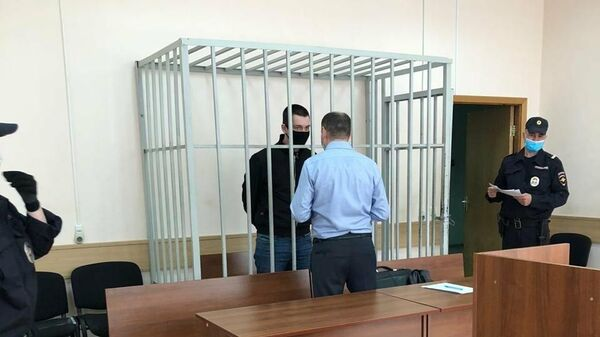 Подозреваемый по делу о стрельбе на юге Москвы Вадим Русанов в суде. 26 мая 2020