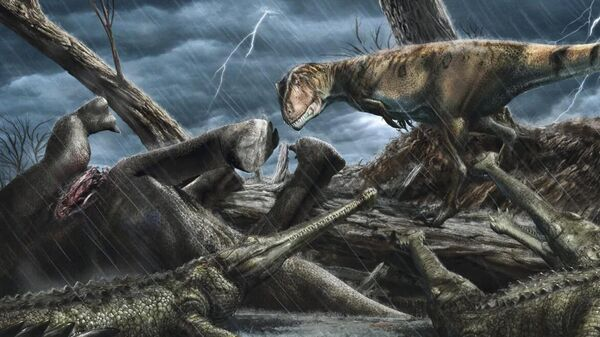 Гигантский кархародонтозавр (справа) высматривает элозухов около туши погибшего динозавра