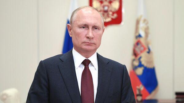 Президент РФ Владимир Путин поздравляет военнослужащих и ветеранов пограничной службы ФСБ России с Днём пограничника. 28 мая 2020
