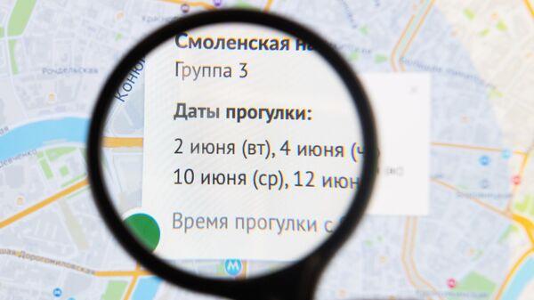 График прогулок в Москве на экране компьютера