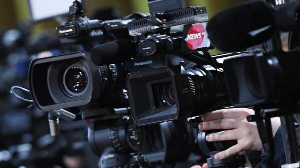 Журналисты во время пресс-конференции