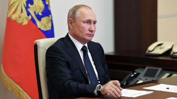 Президент РФ Владимир Путин во время встречи в режиме телемоста с уполномоченным по правам ребенка Анной Кузнецовой и многодетными семьями
