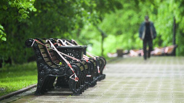 Скамейки, обвязанные оградительными лентами, в парке Коломенское