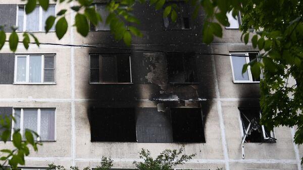 Последствия пожара в квартире на юге Москвы