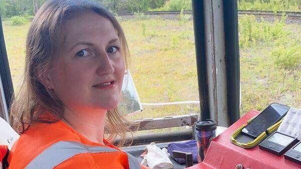 Ольга в трамвае