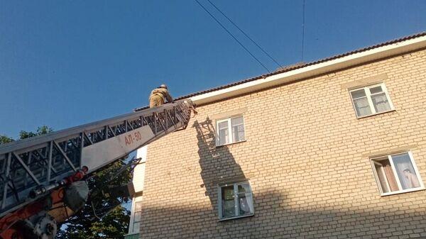 Сотрудники МЧС в городе Губкин на улице Белинского спасли стрижа, запутавшегося в верёвках