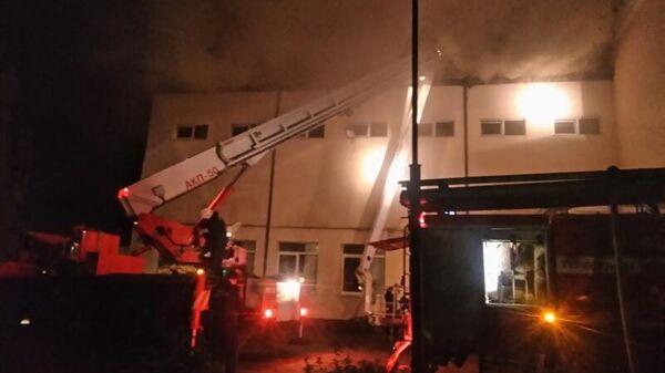 Пожар в Зеленоградске  в пристройке спортивного зала в центре помощи детям Наш дом