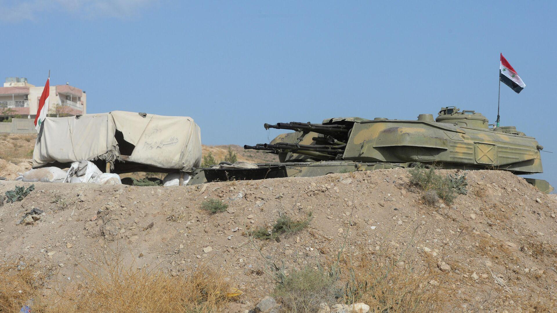 Зенитная самоходная установка Шилка на позиции 10-й дивизии 2-го корпуса Сирийской Арабской Армии у города Катана в Сирии - РИА Новости, 1920, 25.07.2021