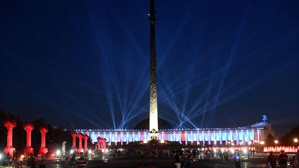 Акция Лучи Победы на Поклонной горе в Москве