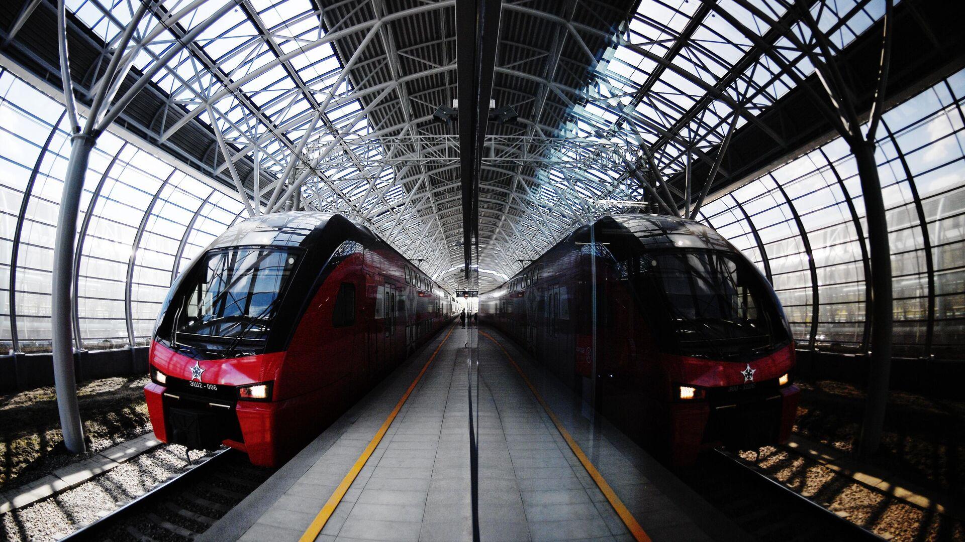 Поезд прибывает на станцию Славянский бульвар линии МЦД-1 - РИА Новости, 1920, 19.09.2020