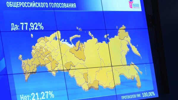 Демонстрация на экране в Центральной избирательной комиссии результатов общероссийского голосования по одобрению внесения поправок в Конституцию РФ
