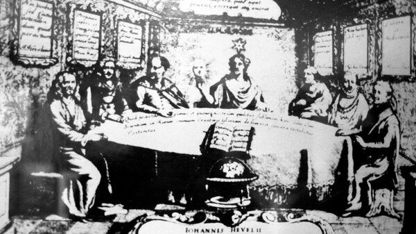 Гравюра, на которой изображены ученые, внесшие большой вклад в астрономию.