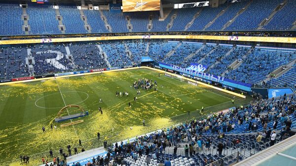 Стадион Зенита во время церемонии вручения кубка РПЛ.