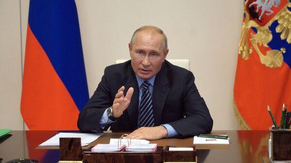 Президент РФ Владимир Путин во время встречи с генеральным директором Агентства стратегических инициатив по продвижению новых проектов Светланой Чупшевой в режиме видеоконференции