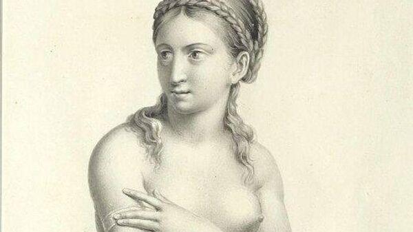 Рисунок Полуобнаженная женщина Василия Андреевича Тропинина