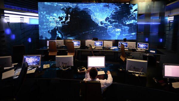 Ньюс рум первой студии программы Вести в здании Всероссийской государственной телевизионной и радиовещательной компании (ВГТРК)