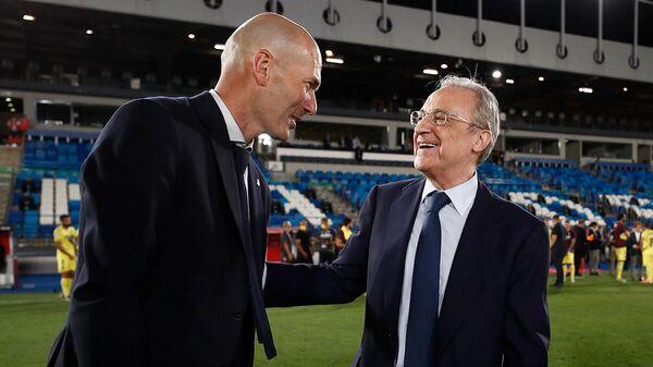 Главный тренер мадридского Реала Зинедин Зидан с президентом клуба Флорентино Пересом
