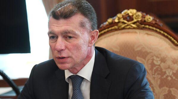 Председатель правления Пенсионного фонда РФ Максим Топилин во время встречи в Кремле с президентом РФ Владимиром Путиным