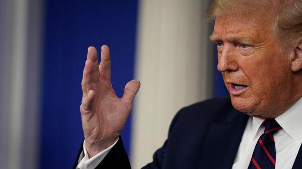 Президент Дональд Трамп во время пресс-конференции в Белом доме в Вашингтоне